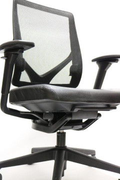 Allsteel Relate Chair, Fully Loaded, Black Leather Seat + Fully Adjustable Arms