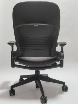 Steelcase Leap Chair V2 Fully Adjustable Diamond Executive Model Black Leather Red Stitching