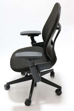 Steelcase Leap PLUS Chair V2 In Fabric in Black +  4-Way Adjustable Armrests