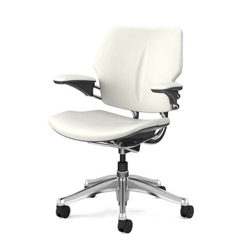 Humanscale Freedom Chair In Polished Frame, White Leather
