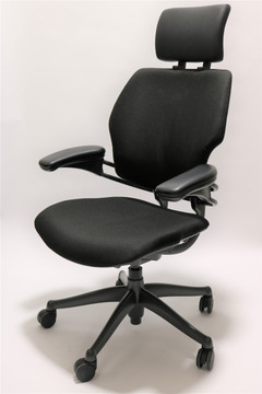 Humanscale Freedom Chair Added Headrest Fully Adjustable Model in Black
