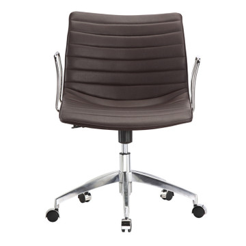 Comfy Office Chair Mid Back, Dark Brown by Fine Mod