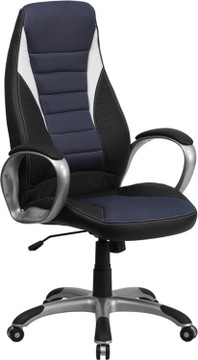 Flash Furniture High Back Black Vinyl Executive Swivel Chair with Blue Mesh Inserts and Arms