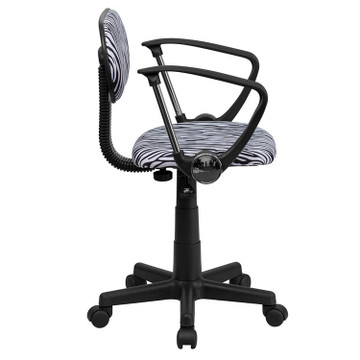 Flash Furniture Black and White Zebra Print Swivel Task Chair with Arms