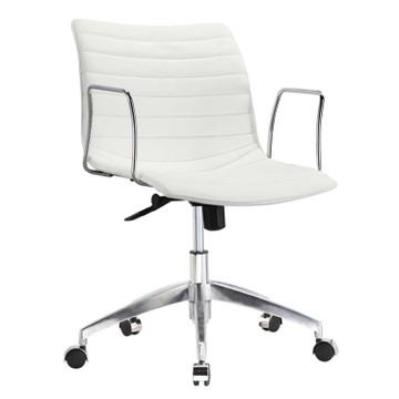 Comfy Office Chair Mid Back, White by Fine Mod