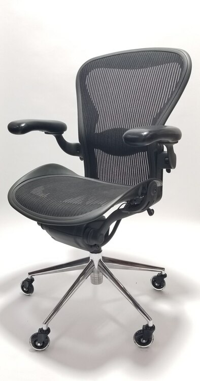 Herman Miller Aeron Chair Size B Black Polished Base, Executive Office Chair