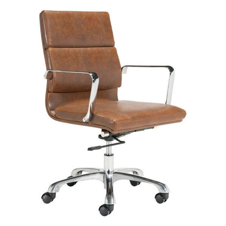 Soft Pad Mid Back Office Chair Vintage Brown by Fine Mod