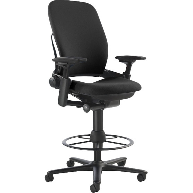 Steelcase Leap V2 Drafting Work Stool Chair in Black