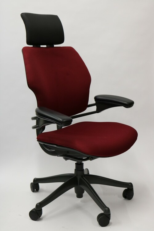 Humanscale Freedom Chair Added Headrest Fully Adjustable Model Burgundy Fabric
