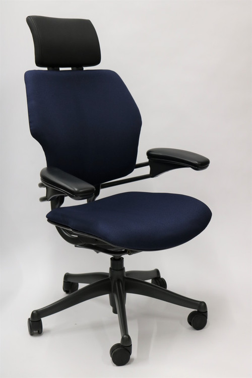 Humanscale Freedom Chair Added Headrest Fully Adjustable Model Navy Fabric