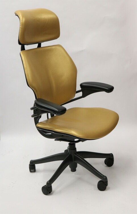 Humanscale Freedom Chair Fully Adjustable Model With Headrest Gold Leather