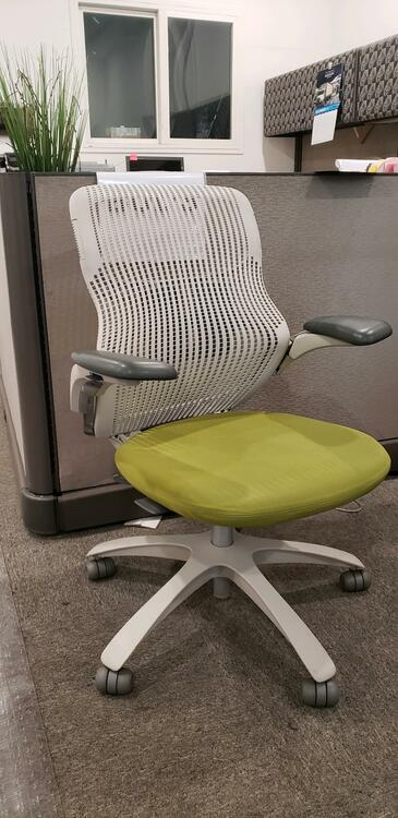 Knoll Generation Chair Fully Adjustable Model Gray and Green Seat