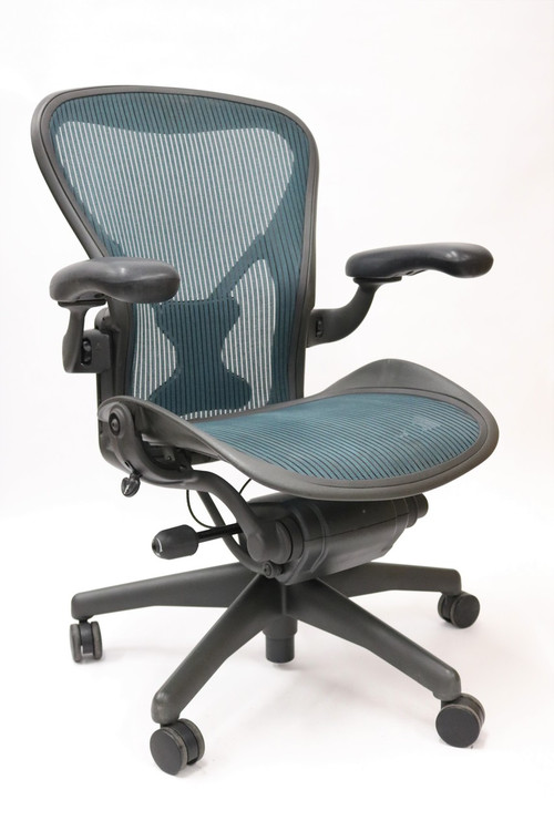 Herman Miller Aeron Chair Fully Featured with Posturefit Size B Jade Green