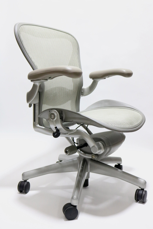 Herman Miller Aeron Chair Platinum Frame and Gray Mesh Size B or C