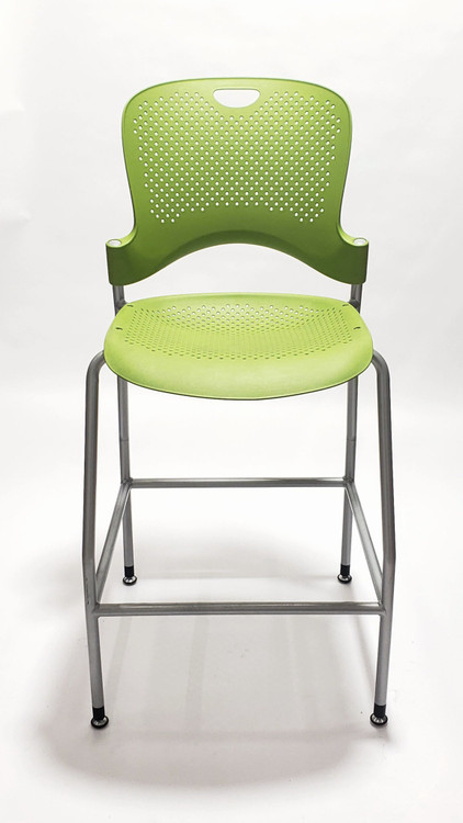 Herman Miller Caper Bar Stool in Lime Green Color Platinum Frame
