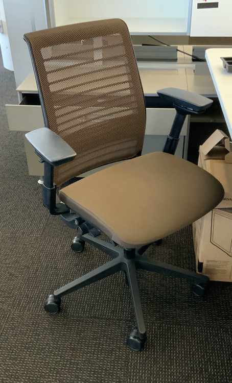 Think Chair V2 Brown 3D Mesh Model 4 Way Arms and Lumbar