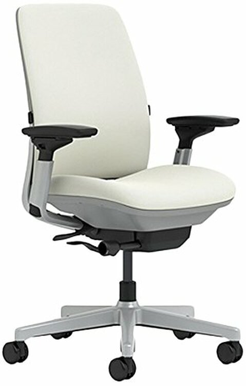 Steelcase Amia Chair Titanium/Platinum Frame White Leather