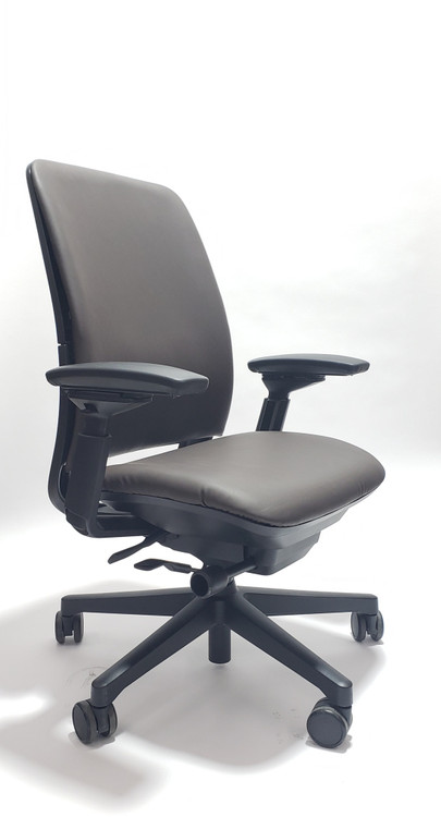 Steelcase Amia Chair Black Frame Dark Brown Leather