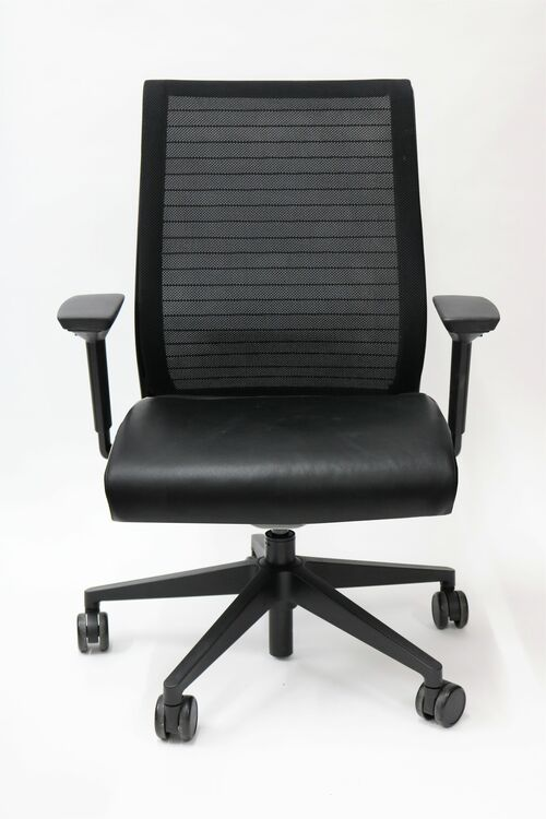 Steelcase Think Chair Mesh Back and Black Leather Seat