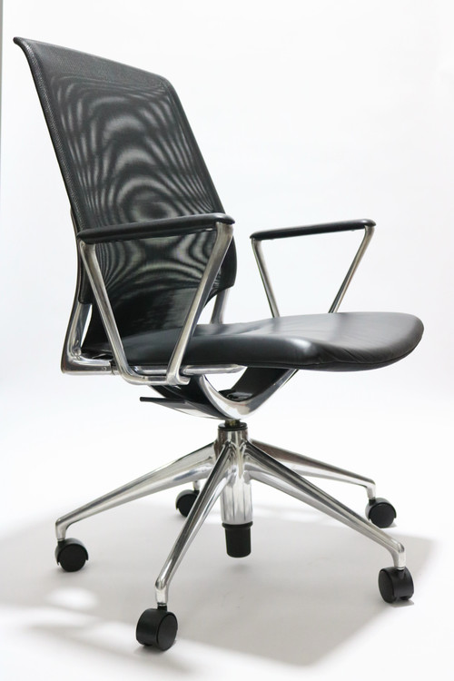 Vitra Meda Chair Black Leather Seat Mesh Back