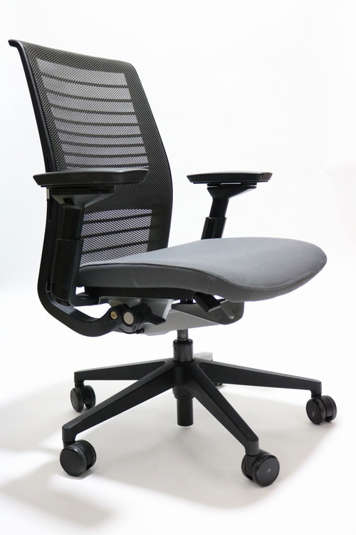 Steelcase Think Chair V2 Gray Mesh and Gray Seat + 4 Way Pivot Arms