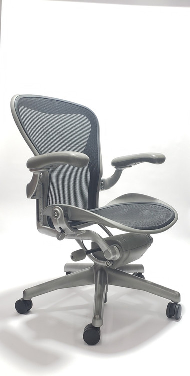 Herman Miller Aeron Chair Platinum Frame and Black Mesh Basic Model