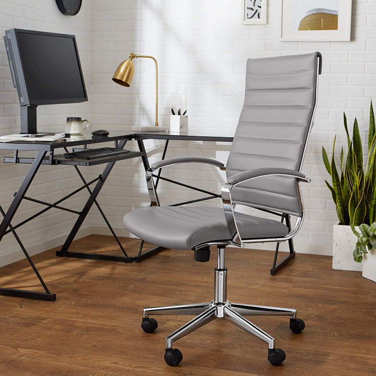 Softpad Conference Office Chair High Back, Generous Grey Modern Style