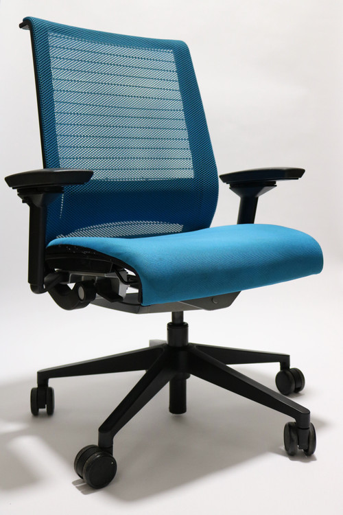 Steelcase Think Chair Sky Blue Color Fabric Seat and Mesh Black frame