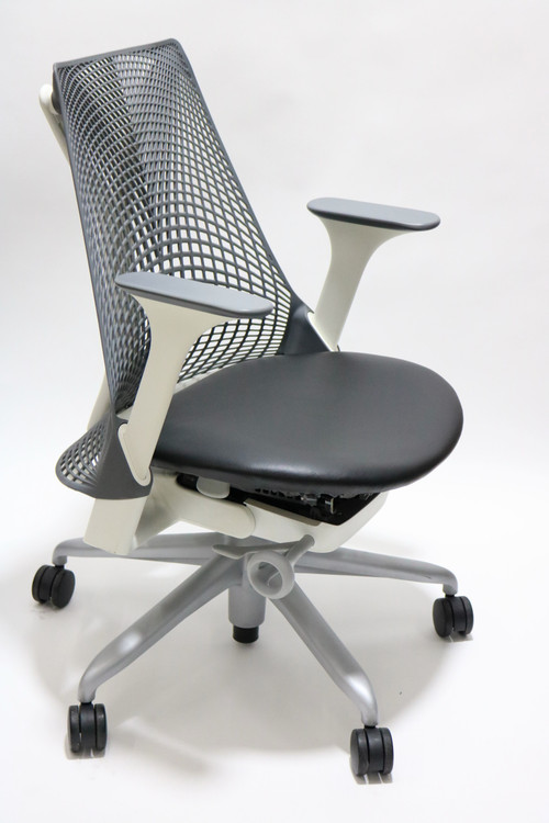 Herman Miller Sayl Chair Gray Back and Black Leather Seat