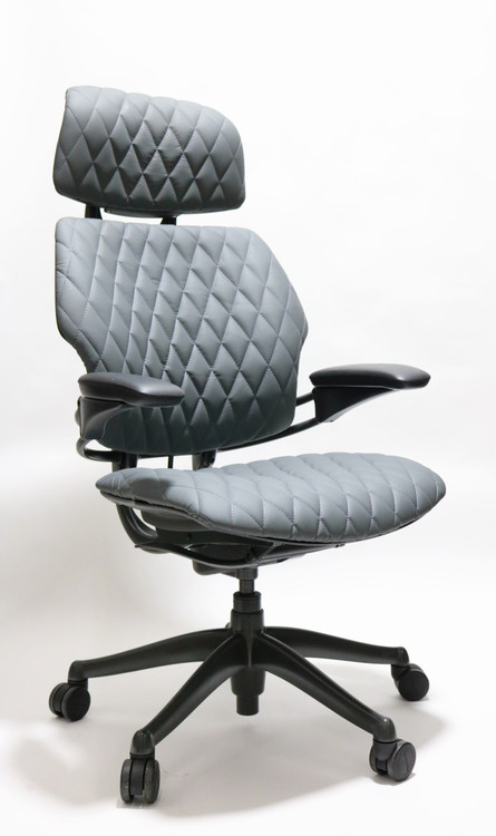 Humanscale Freedom Chair With Headrest Fully Adjustable Diamond Executive Model Gray Leather
