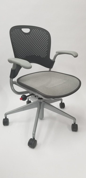 Herman Miller Caper Chair in Black and Gray Mesh Seat Black Star Base