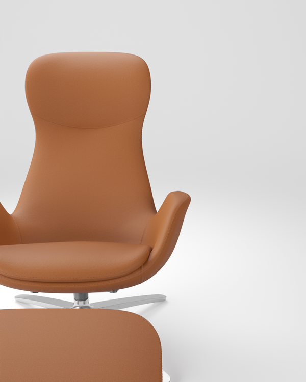 Solo Lounge Set Chair and Ottoman by CavilUSA Light Brown Soft Genuine 100% Leather