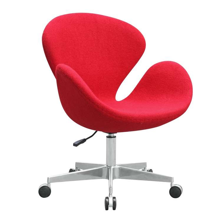 Swan Chair Fabric with Casters, Red by Fine Mod