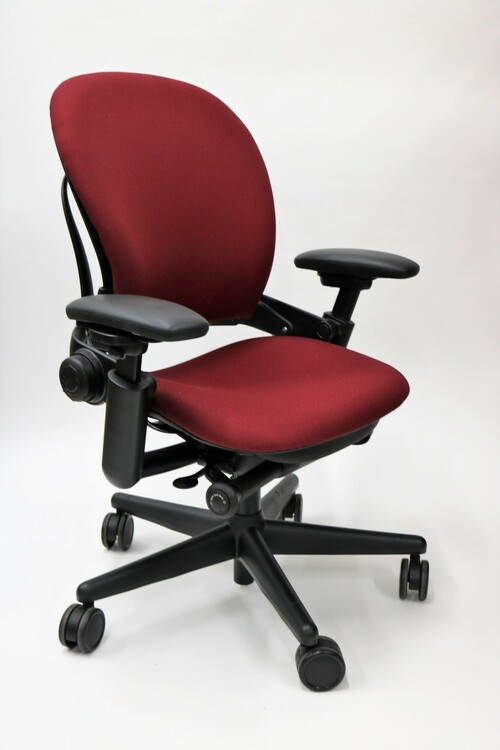 Steelcase Leap Chair In Burgundy Fabric + Pivot Arms