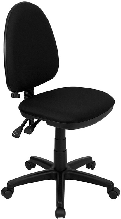 Flash Furniture Mid Back Black Fabric Multifunction Swivel