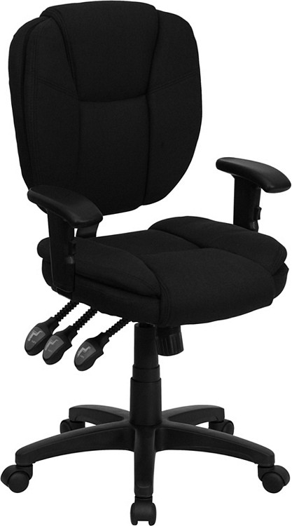 Flash Furniture Mid Back Black Fabric Multifunction