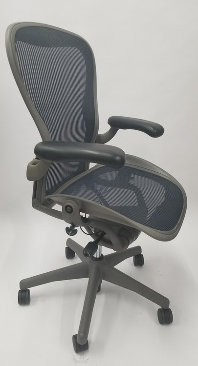 Herman Miller Aeron Chair Size B Gray Base Navy Mesh With