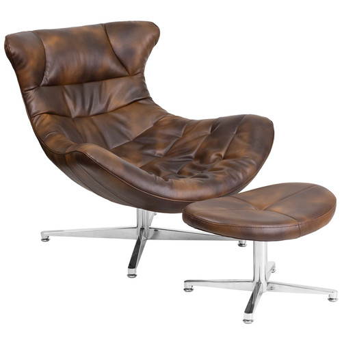 Bomber Jacket Leather Cocoon Chair With Ottoman By