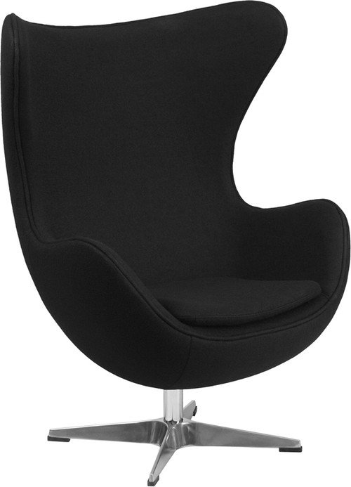 Black Wool Fabric Egg Chair With Tilt Lock Mechanism By