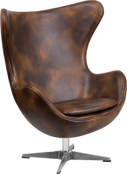 Bomber Jacket Leather Egg Chair With Tilt Lock Mechanism