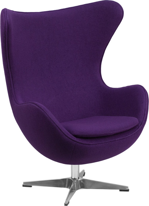 Lemoderno Purple Wool Fabric Egg Chair With Tilt Lock