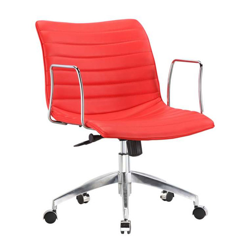 Chrome Fine Mod Comfy Office Chair Faux Leather Red