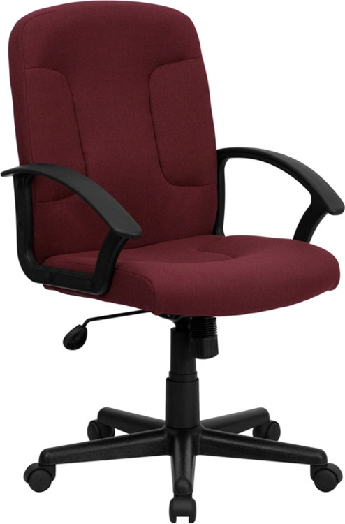 Flash Furniture Mid Back Burgundy Fabric Executive Swivel
