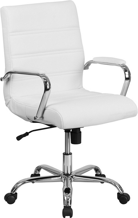 Isen Mid Back White Leather Executive Swivel Chair With Chrome Base And