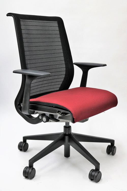 Think Chair By Steelcase Burgundy Fabric Seat And Black
