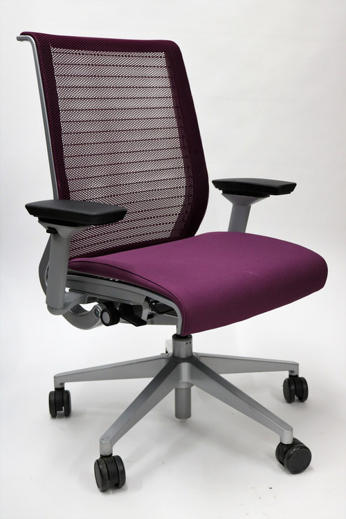 Think Chair By Steelcase Purple Color Fabric Seat And Mesh