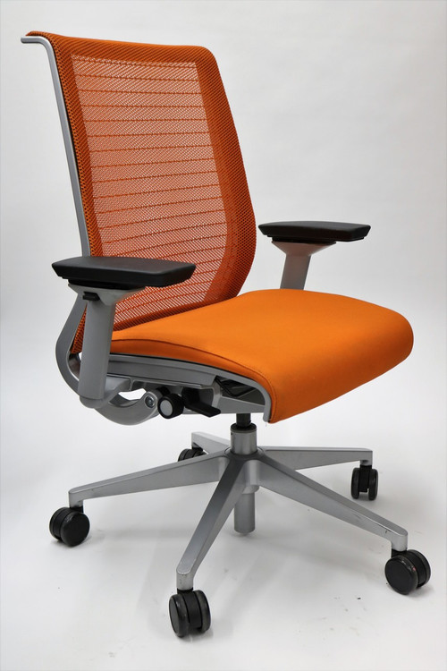 Think Chair By Steelcase Orange Color Fabric Seat And Mesh