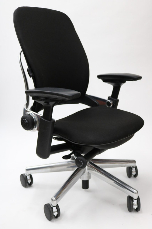 Leap Chair V2 By Steelcase Black Fabric Polished Aluminum