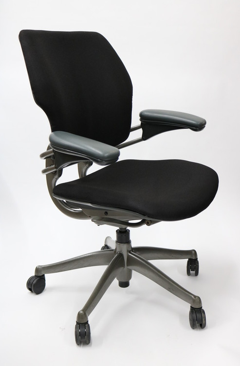 Freedom Chair By Humanscale In Platinum Frame Black Fabric