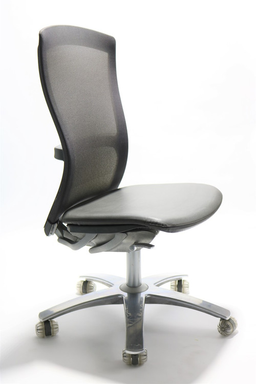 Life Chair By Knoll Gray Mesh Back Black Leather Seat No Arms